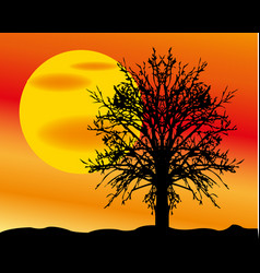 Landscape with sun and tree vector