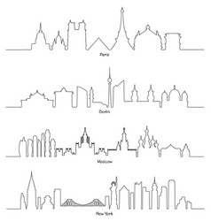 paris berlin moscow and new york vector image vector image