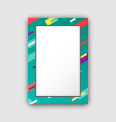 photo frame with green border and abstract figures vector image vector image