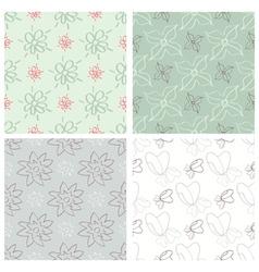 Set of four flower patterns vector image
