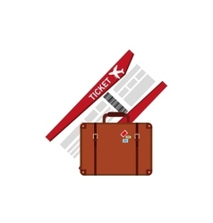 boarding pass and suitcase icon vector image