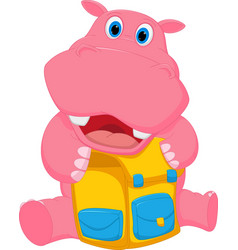 happy hippo cartoon with school bag vector image vector image