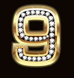 Number nine bling gold and diamonds vector image