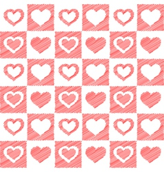 Seamless red hearts sketch vector image