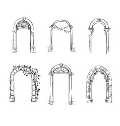 set of arches architectural detail vector image