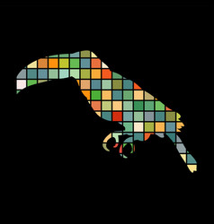 toucan bird mosaic color silhouette animal vector image vector image