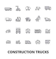 trucks construction equipment crane cement vector image