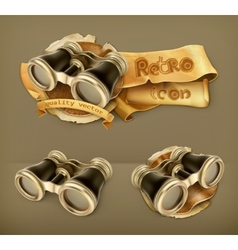 Vintage binoculars icon vector image