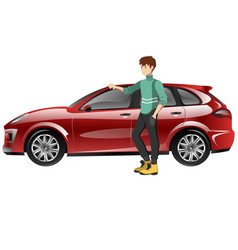 a happy man next to the car vector image vector image
