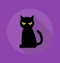 Halloween flat icon black cat vector