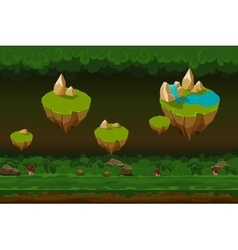 Night forest game background seamless cartoon vector image