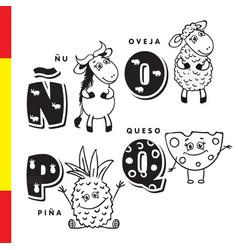 spanish alphabet wildebeest sheep pineapple vector image vector image