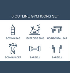 6 gym icons vector