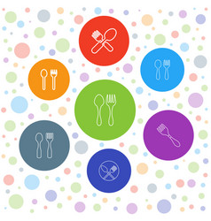 7 cutlery icons vector