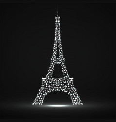 abstract eiffel tower of glowing particles vector image