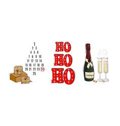 advert calendar festive season design ho ho ho vector image