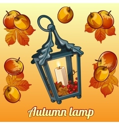 Autumn set of candle holder leaves and apples vector