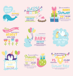 baby shower invitation decoration celebration vector image