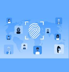 Biometric fingerprint security data protection vector