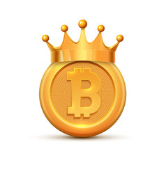 Bitcoin crown king logo gold coin cartoon vector