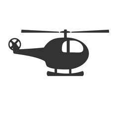 black and white helicopter icon isolated on vector image