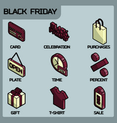 black friday color outline isometric icons vector image