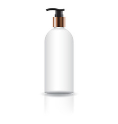 Blank white cosmetic round bottle with pump head vector