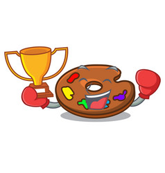 boxing winner palette mascot cartoon style vector image