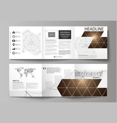 Business templates for tri fold square design vector