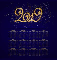 Business wall calendar glitter 2019 on vector