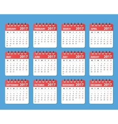 Calendar 2017 year starts on monday vector