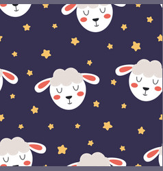 cartoon animal seamless pattern with face lamb vector image