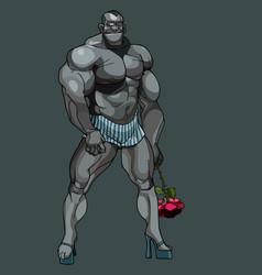 Cartoon man bodybuilder standing on heels with a vector