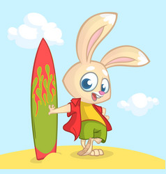 Cartoon summer holiday background with rabbit surf vector
