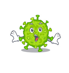 Cartoon virus corona cell making surprised gesture vector