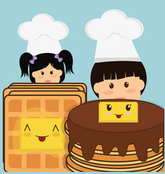 Chef boy and girl pancake bread butter vector