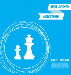 chess icon on a blue background with abstract vector image