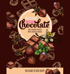 Chocolate candies and bars mint vanilla spices vector