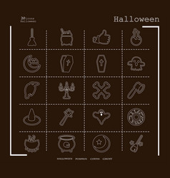 collection of 20 halloween icons in thin line vector image