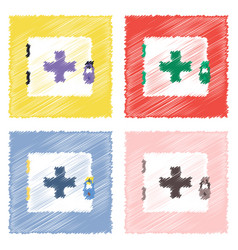 Collection of flat shading style icons first aid vector