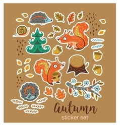 Collection of stickers with cartoon characters vector