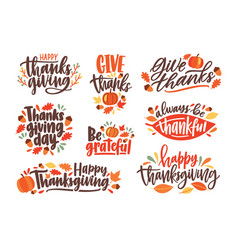 collection of thanksgiving day letterings vector image
