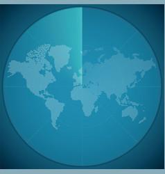 Concept of world map on digital sonar display vector