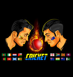 Cricket players of cricket championship vector