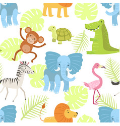 cute african animals and birds seamless pattern vector image