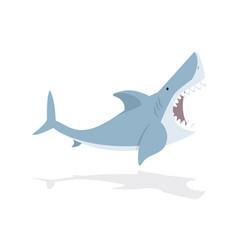 cute flat shark open mouth vector image