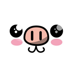 Cute kawaii cartoon face vector