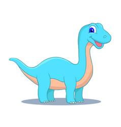 Cute little cartoon baby dinosaur - diplodocus vector