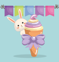 cute rabbit with ice-cream kawaii birthday card vector image