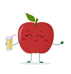 Cute red apple cartoon character holding a glass vector